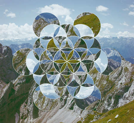 Abstract background with the image of the mountains and the flower of life. Sacred geometry. Harmony, spirituality, unity of nature. Collage, mosaic.