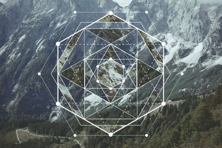 Geometric collage with the image of the mountain landscape. Abstract background. Harmony, spirituality, unity of nature. Reklamní fotografie