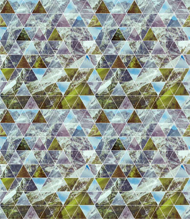 Geometric triangular seamless pattern with image of the mountains. Abstract nature background. Harmony, spirituality, unity of nature.