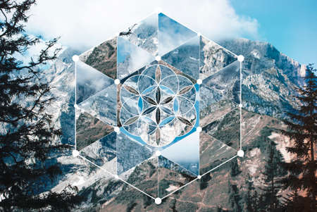 Abstract background with the image of the mountain landscape and the sacred geometry symbol. Harmony, spirituality, unity of nature. Collage, mosaic. Reklamní fotografie - 127090272