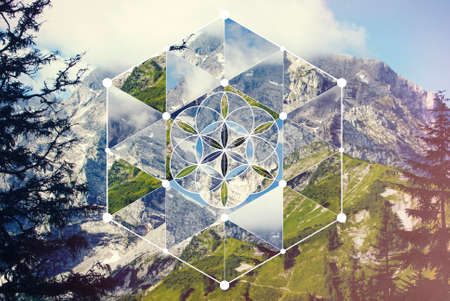Abstract background with the image of the mountain landscape and the sacred geometry symbol. Harmony, spirituality, unity of nature. Collage, mosaic.