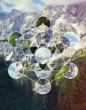Abstract background with the image of the mountain landscape and the symbol Metatron's Cube. Sacred geometry. Harmony, spirituality, unity of nature. Collage, mosaic.
