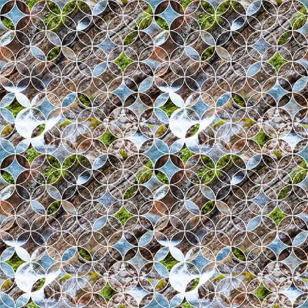 Circular seamless pattern with rocks and river. Reklamní fotografie - 127090277