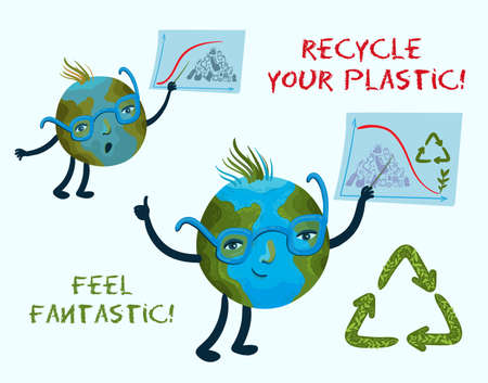 Vector conceptual illustration of the cute character of planet Earth teaches people how to recycle plastic and waste. 일러스트