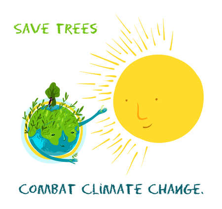Save trees, combat climate change. Vector ecological illustration about the conservation of trees and plants on planet Earth. Cute character, conceptual illustration for banner, poster.
