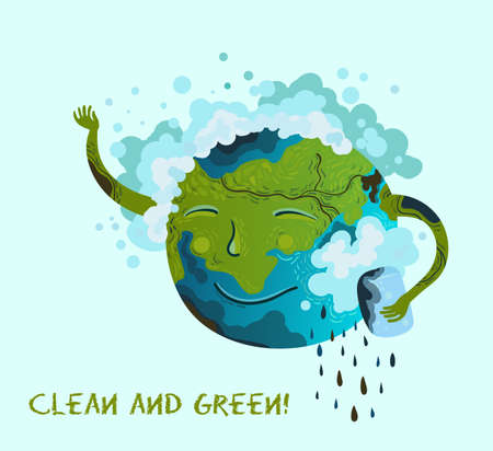 Illustration of a cute planet Earth that washes away trash, pollution, petroleum. Purification of land, air, water, forests. Ecological conceptual illustration. Clean and green.