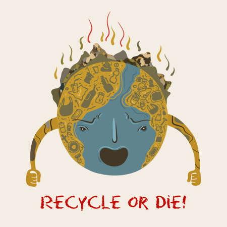 Vector conceptual ecological illustration of angry planet Earth that turned into a garbage dump. Recycle or die. Stock Illustratie