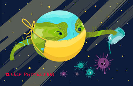 Planet Earth as character sanitize agains viruses and bacterial.