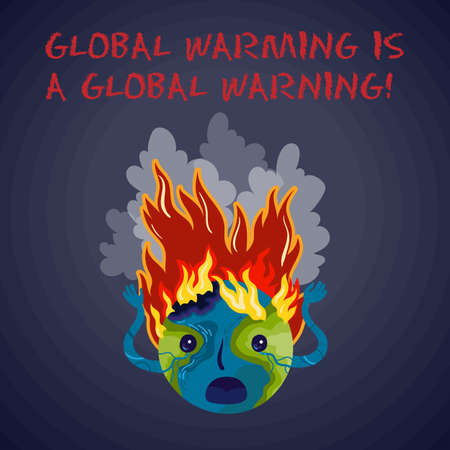 Global warming is a global warning. Ecological vector conceptual illustration with the character of the Earth planet, that gripped by fire and horror