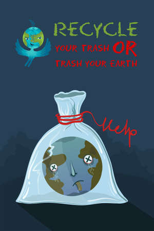Vector conceptual ecological illustration of planet Earth that suffocated in a plastic bag. Recycle your trash or trash your Earth.