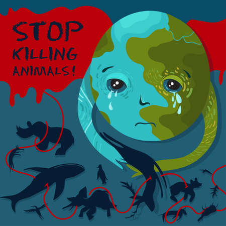 Wildlife protection poster. Vector illustration of the Earth character that cries over the bodies of dead animals. Stop killing animals.