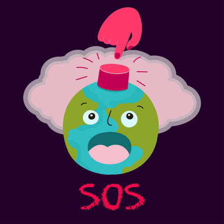 Vector illustration of a disaster situation on the planet earth. Nuclear explosion, SOS button, conceptual poster.