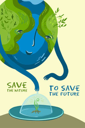 Save the nature to save the future. Vector illustration about the conservation of trees and plants on planet Earth. Cute character, conceptual illustration for banner, poster.