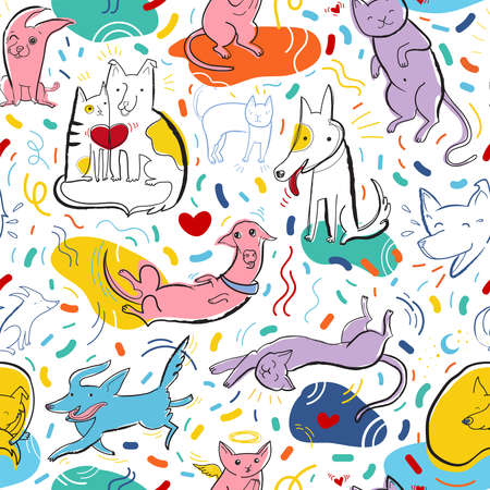 Seamless pattern with cute color dogs and cats. Creative childish texture. Pop art vector Illustration of characters in different poses and emotions. Design for fabric, poster, card, invitation, placard, brochure, flyer, web.