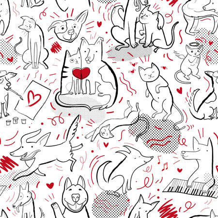 Seamless vector pattern with drawn funny cats and dogs in different poses and emotions. Contour background pattern with hand drawn, doodle elements and raster effect.