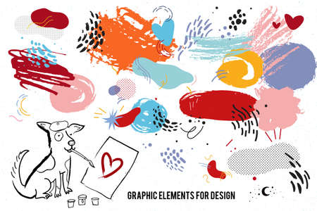 Vector set with hand drawn graphic elements for design such as abstract spots, strokes, dots. Artistic and memphis style.