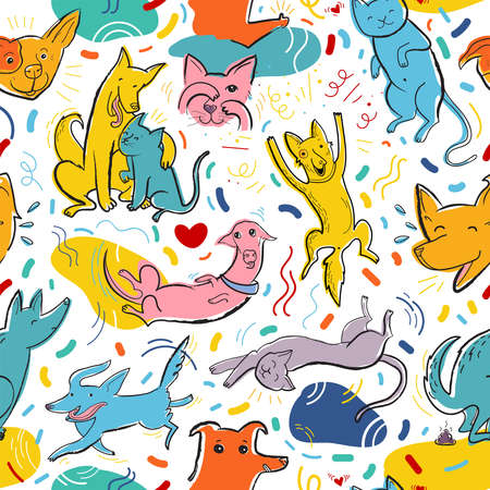 Seamless pattern with cute color dogs and cats. Creative childish texture. Great for fabric, textile, web. Pop art vector Illustration of characters in different poses and emotions. Stock Illustratie