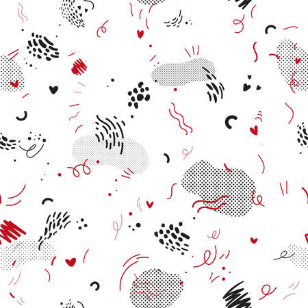 Abstract geometric background in Memphis style. Vector seamless pattern with hand drawn, doodle elements and raster effect. Design for fabric poster, card, invitation, placard, brochure, flyer, web. Stock Illustratie