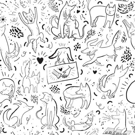 Seamless vector pattern with drawn funny cats and dogs in different poses and emotions. Black contour background pattern with hand drawn elements. Design for fabric, poster, card, invitation, placard, brochure, flyer, web. Stock Illustratie