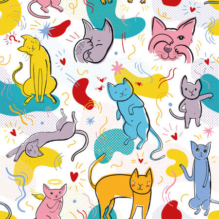 Seamless pattern with cute cats and hand drawn elements in memphis style. Creative childish texture. Great for fabric, textile, web. Pop art vector Illustration of characters.