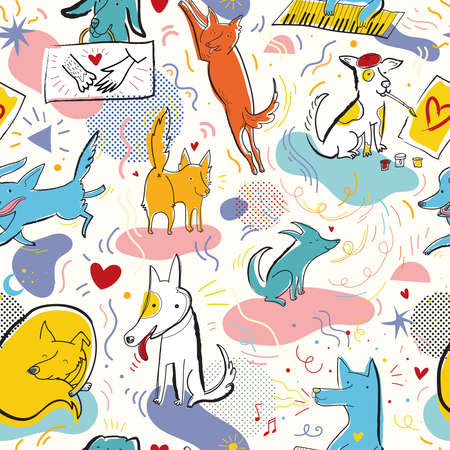 Seamless pattern with cute dogs characters and hand drawn elements in memphis style. Creative childish texture. Great for fabric, textile, web. Pop art vector Illustration. Illustration