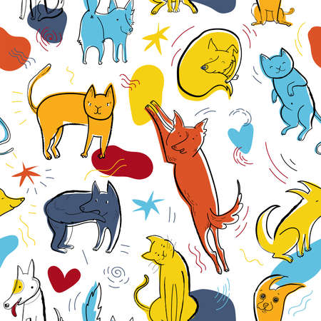 Seamless pattern with cute color dogs and cats. Creative childish texture with hand drawn, doodle elements. Pop art vector Illustration of characters in different poses and emotions.