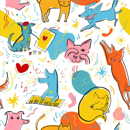 Seamless pattern with cute color dogs and cats. Creative childish texture with hand drawn, doodle elements. Pop art vector Illustration of characters in different poses and emotions. Design for fabric, poster, invitation, placard, brochure, web.