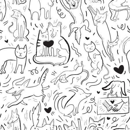 Best friends. Seamless vector pattern with drawn funny cats and dogs in different poses and emotions. Black contour background pattern with hand drawn elements. Design for fabric, poster, card, invitation, placard, brochure, flyer, web. Illustration