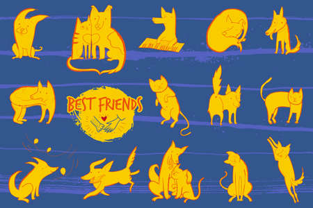 Vector illustration with set of cute dogs and cats in different emotional states. Best friends. Funny childish characters.