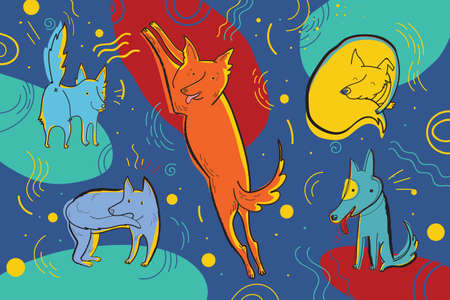 Vector illustration with happy dogs surrounded by hand drawn graphic elements. Funny childish emotional characters.