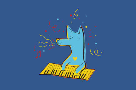 Vector illustration with happy dog playing piano surrounded by confetti. Greeting card for the holiday and party.