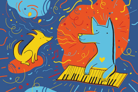Vector illustration with happy dogs surrounded by confetti. Greeting card for the holiday and music party. Childish characters.