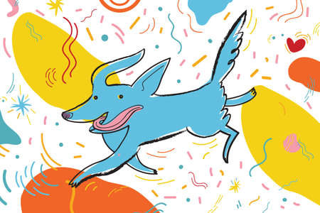 Vector illustration with running dog surrounded by bright confetti and graphic elements. Greeting card for the holiday and party. Illustration