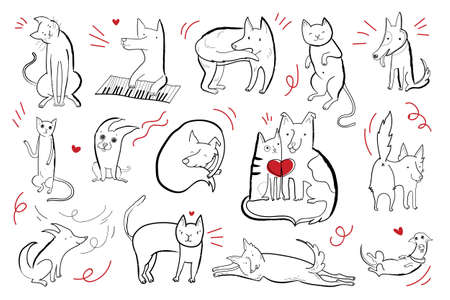 Vector set of cute characters dogs and cats in different emotional states. Black contour illustration with red elements.