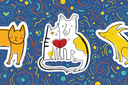 Vector illustration with dog and cat in love surrounded by confetti. Greeting card with cute emotional characters. Vetores
