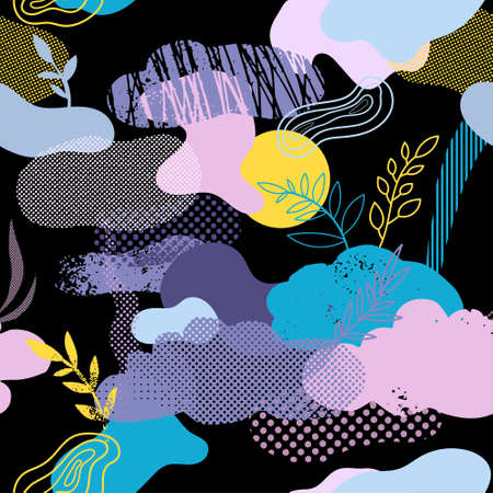 Seamless pattern with clouds, floral and graphic elements