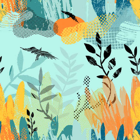 Vector seamless pattern with abstract plants, clouds and birds. Illustration