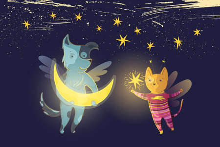 Vector childrens fairy illustration with dreamy dog and cat, moon and star on a background of starry sky. Illustration