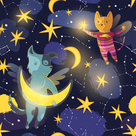 Vector seamless pattern for children with fairy dog, cat, moon, stars and constellations.