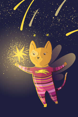 Vector children fairy illustration with dreamy cat and stars.
