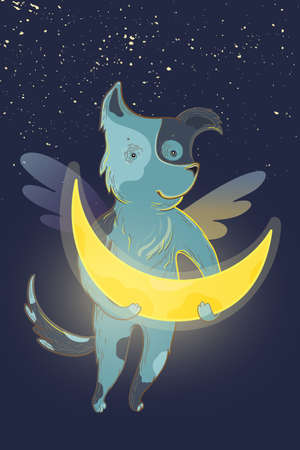 Vector children fairy illustration with dreamy dog and moon.
