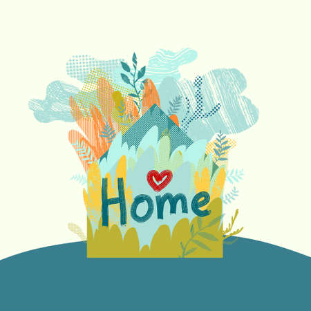 Stay home. Vector conceptual illustration with house silhouette, floral elements, and hand written text.