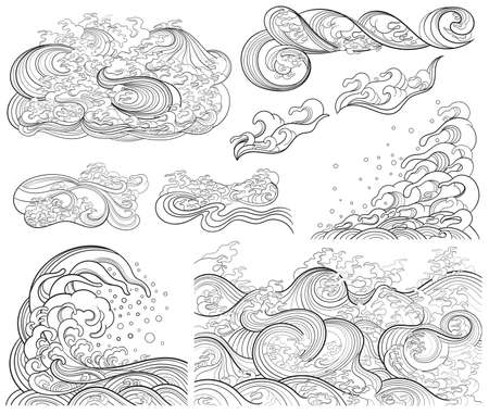 A set of vector contour elements, templates on the theme of waves in an oriental style.