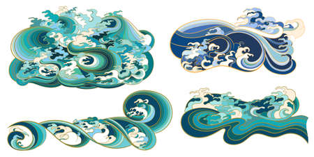 A set of vector elements, templates on the theme of waves in an oriental style.