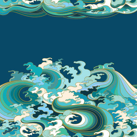Vector background with waves in traditional oriental style.