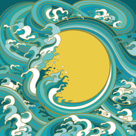 Vector colour illustration for graphic design. Frame template with the image of sea waves in traditional oriental style.