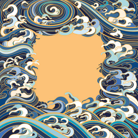 Vector illustration of a frame with waves in a traditional oriental style.