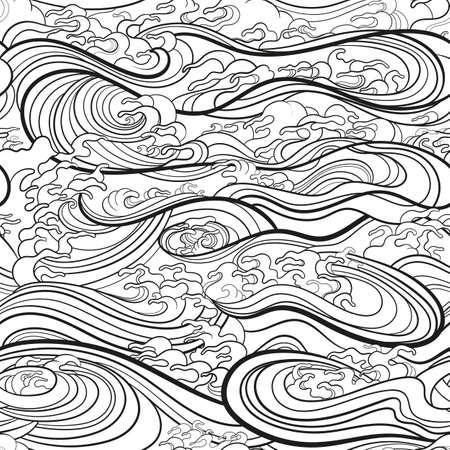 Marine seamless pattern with water waves in oriental style, line art. 向量圖像