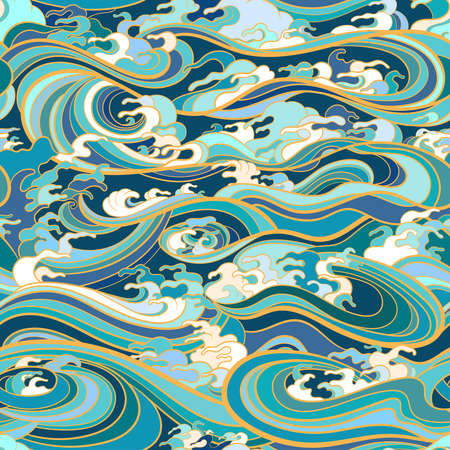 Marine seamless pattern with water waves in oriental style