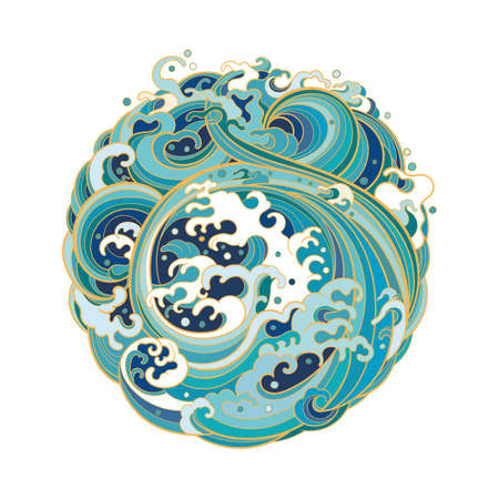 Traditional oriental sea waves in the form of a circle. 向量圖像
